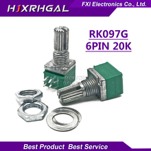 10pcs RK097G 20K single linked potentiometer B20K with a switch audio 6pin shaft 15mm  amplifier sealing potentiometer