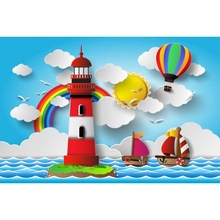 Yeele Cartoon Paper Boat Cloud Rainbow Tower Portrait Photography Backgrounds Customized Photographic Backdrops For Photo Studio