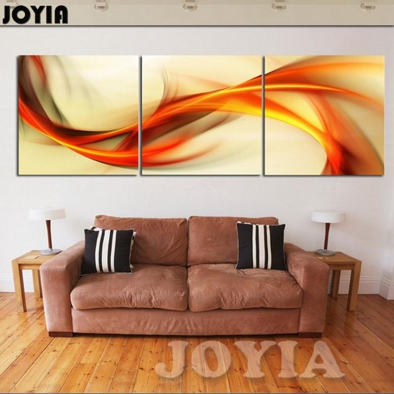 3 piece wall art abstrak lukisan dekorasi rumah modern gambar set kuning orange angin kanvas cetak untuk ruang tamu ada bingkai di painting calligraphy