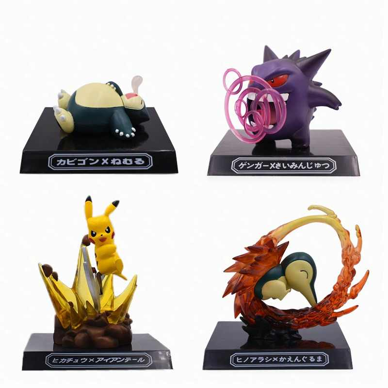 4 Styles Anime Cute GK Pikachu Snorlax Gengar Cyndaquil Figurine PVC Action Figure Dolls Collection Model Christmas Gift Toy