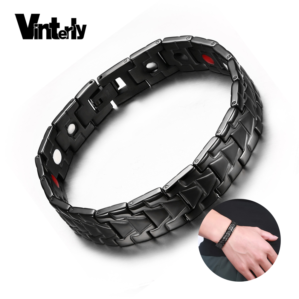 Vinterly Black Magnetic Bracelet Male Health Energy Bio Magnetic Therapy Germanium Stainless Steel Náramky Náramky Muži Šperky