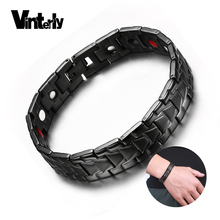 Vinterly Black Magnetic Bracelet Male Health Energy Bio Magnetic Therapy Germanium Stainless Steel Bracelets Bangles Men Jewelry