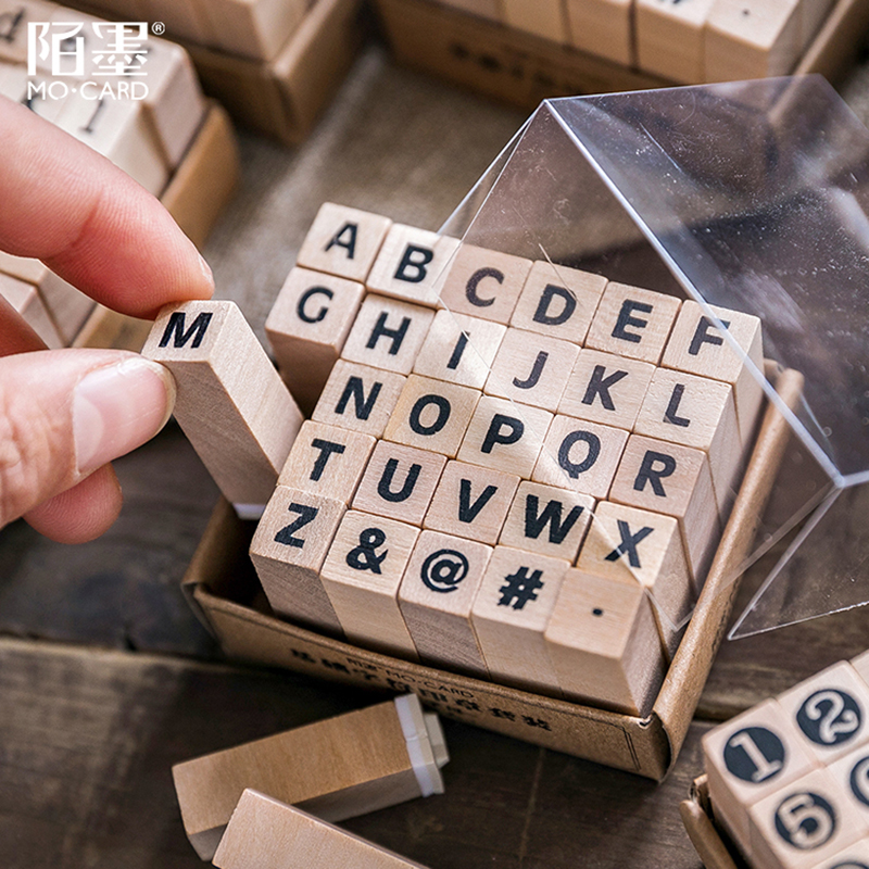 Image 3 - Vintage basic Alphabet Number character stamp DIY wooden rubber stamps for scrapbooking stationery scrapbooking standard stamp-in Stamps from Home & Garden