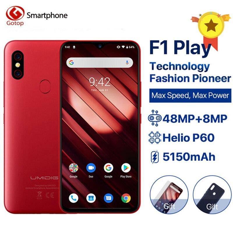 UMIDIGI 64 F1 Jogar 6 Telefone Celular Android 9.0 GB RAM GB ROM 48MP + 8MP Câmeras de Telefone Celular 5150mAh 6.3