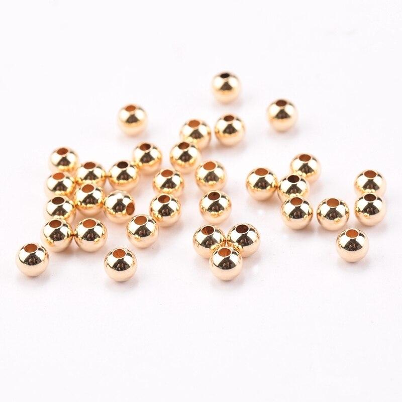 Großhandel 100 PCS 2-4 MM 14 K Gold Gefüllt perlen runde glatte schmuck perlen für armband & halskette, der 14 K Gold schmuck Erkenntnisse