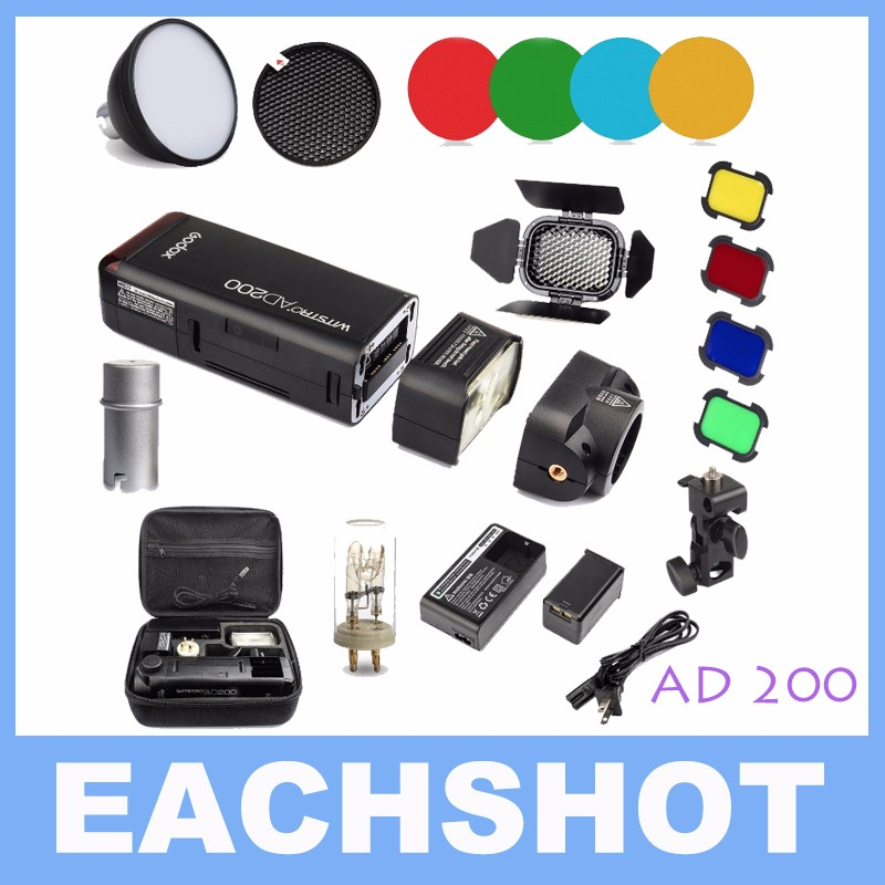 Godox AD200 200Ws 2.4G TTL Flash 1/8000 HSS for Nikon for Canon for Sony+AD-S11 Color Filter Gel Pack+AD-S2 Standard Reflector godox ad200 200ws 2 4g ttl flash 1 8000 hss monolight for nikon for canon for sony