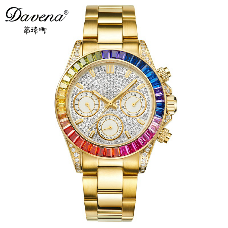 Best women Gold Silver stainless steel watch Calendar crystal watches Fashion quartz wristwatches Davena 60638 3
