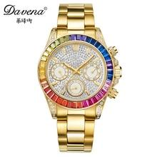 Best women Gold Silver stainless steel watch Calendar crystal watches Fashion quartz wristwatches Davena 60638 3