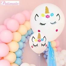 PATIMATE Helium Unicorn Sticker Balloons Latex Round Ballons Accessories Baby Shower Gir Happy Birthday Decor Unicornio