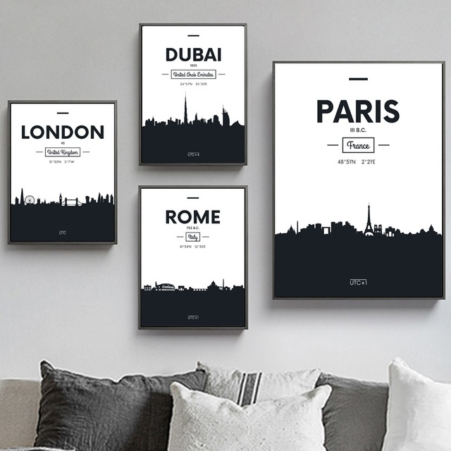 London Paris Rom Dubai City Landscape Wall Art Canvas Painting