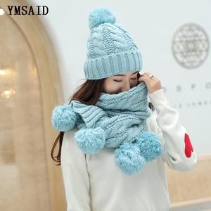 Image 5 - Ymsaid ผู้หญิงฤดูหนาวหมวกผ้าพันคอชุดขนสัตว์ถักหมวกขนสัตว์ PomPom หมวกสำหรับหมวกผู้หญิง Lady Bonnet หนาหมวกสกีคอ