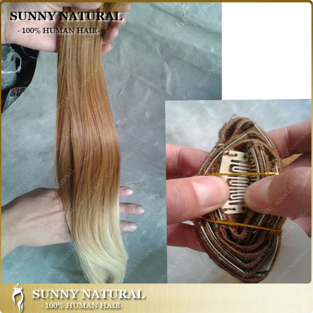 8 28inch Two Tone 6613 Blonde Human Hair Clip In Extensions Ombre