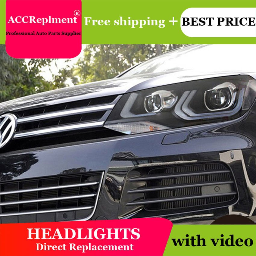 Car Styling VW Touareg headlights 2013 2015 Touareg Double Angel eye led drl H7 hid Bi