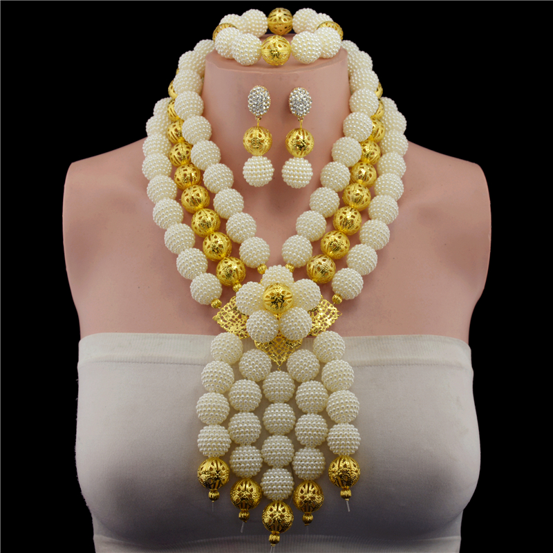 Plastic Pearl Ball 2017 Fashion african beads necklace set nigerian wedding african beads jewelry set Free shippingPlastic Pearl Ball 2017 Fashion african beads necklace set nigerian wedding african beads jewelry set Free shipping