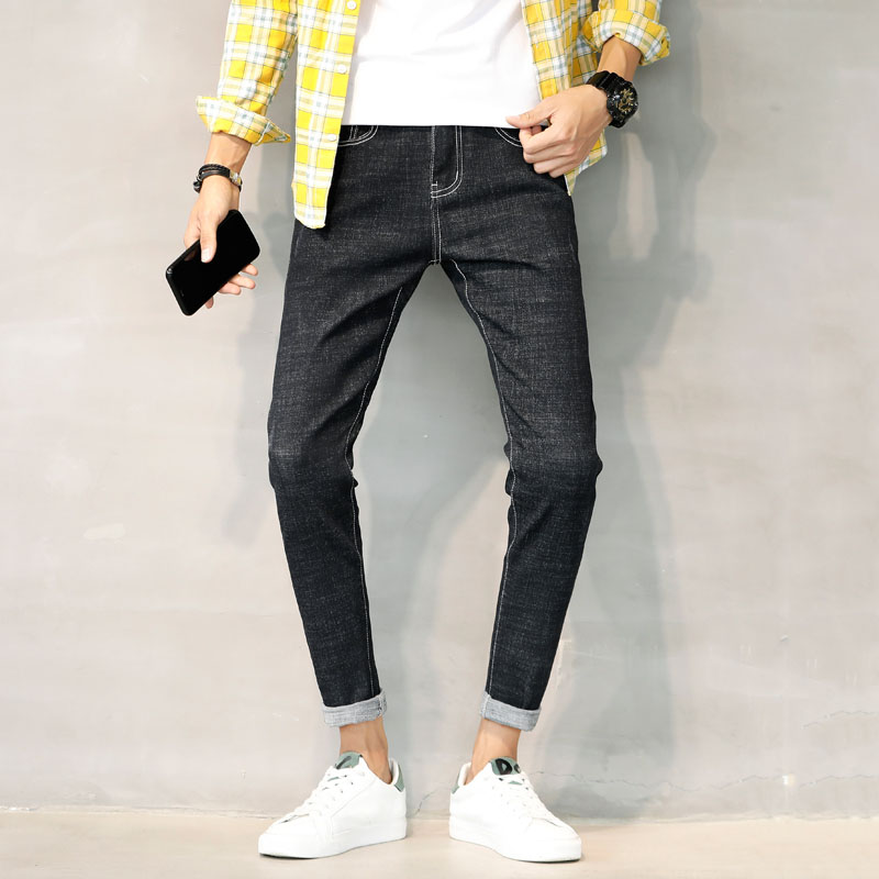 Mens Jeans 2018 Summer Black Thin Straight Slim High Heel Elastic Thin Mens Jeans Long Pants Large Size