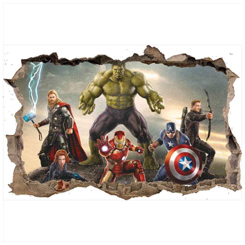 The Avengers anime broken wall decals Super