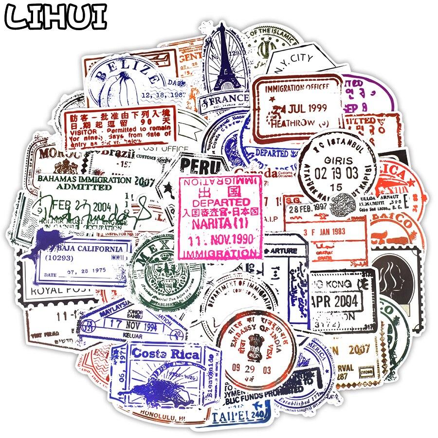 50 PCS Retro Visa Seal Stamp Transparent Stickers Postmark Postage Graffiti Decals Sticker DIY Suitcase Guitar Laptop Car Fridge