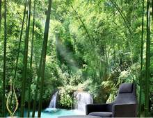 custom 3d modern photo wallpaper bamboo forest 3d mural wallpaper 3d wall paper photo murals living room(China)