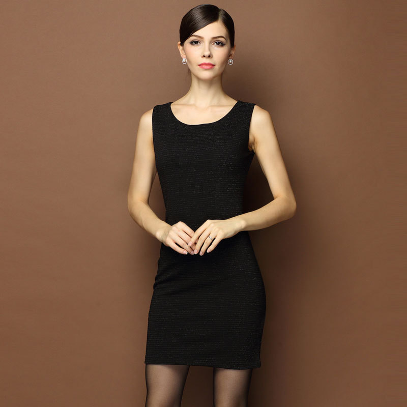 Online Shop New Fashion Women Dress Black Sleeveless Office Dress