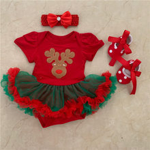 Christmas Baby Costume Baby Girls Rompers Newborn Clothes Christmas Reindeer Printed Jumpsuits Dress Bebes New Year Red Romper цены онлайн