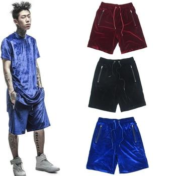 2018 velvet loose Summer Hip Hop Joint Shorts cool blue High Street Fashion  Elastic Waist Shorts trousers