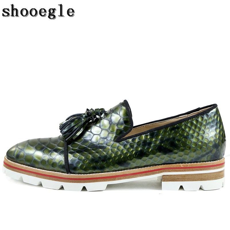 SHOOEGLE Men Snakeskin Slip-on Anti-skid Oxfords Shoes Vintage Style Camping Shoes Men Derby Shoes Fashion Handmad Casual Shoes pjcmg handmad 100