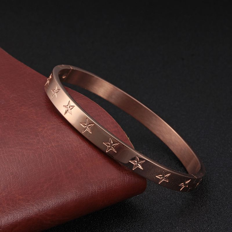 316L Stainless Steel Pentagram Bangles Bracelets Woman Man Rose Gold Plating Female Charming Cuff Bangle WristBand Party Jewelry in Bangles from Jewelry Accessories