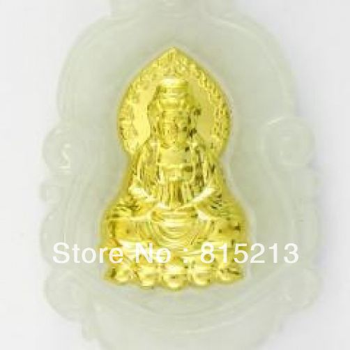 Ddh00589 Naturel Jade Agate 24 k Or Zodiaque Guanyin Collier N Remise
