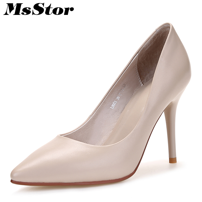 MsStor Sexy Concise Pumps Shoes Woman Fashion Shallow Elegant High Heels Women Shoes Zapatos Mujer Black Stiletto heel Shoes стоимость