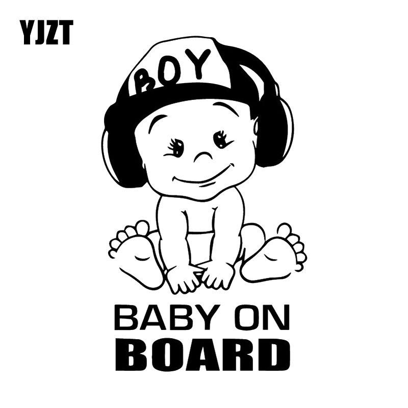 YJZT 11.1X18.3CM DJ Boy Fashion Cartoon Whole Body Decoration Decal BABY ON BOARD Warning Car Sticker C25-0073