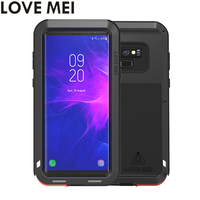 LOVE MEI Heavy Duty Case Silicone TPU & Hard Metal Back Funda Powerful Phone Case For Samsung Galaxy Note 9 Note9 SM N960F Cover