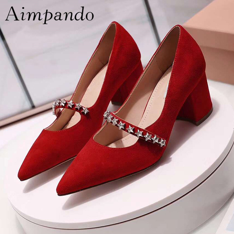 2019 Rhinestone Star High Heel Shoes Woman Pointed Toe Chunky Heel Pumps Women Sexy Party Shoes