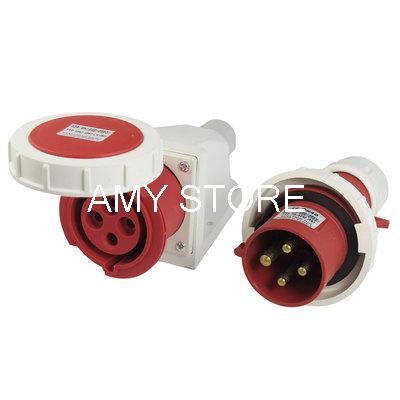 32A Splash Proof 4 Pin IEC309-2 Industrial Panel Mount Plug Connector abb industrial connector four pole mobile industrial plug 63a 363p6