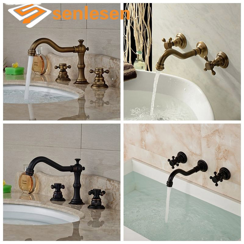 Wholesale And Retail Bathroom Faucet Deck/Wall Mounted Antique Brass Black Vanity Basin Faucet Cold and Hot Water Mixer Tap free shipping wholesale and retail water tap black antique brass bathroom basin faucet tap swivel spout vanity sink mixer