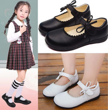 Black White Spring Autumn Girls Princess Shoes For Kids School Leather Student Dress 3 4 5 6 7 8-15T