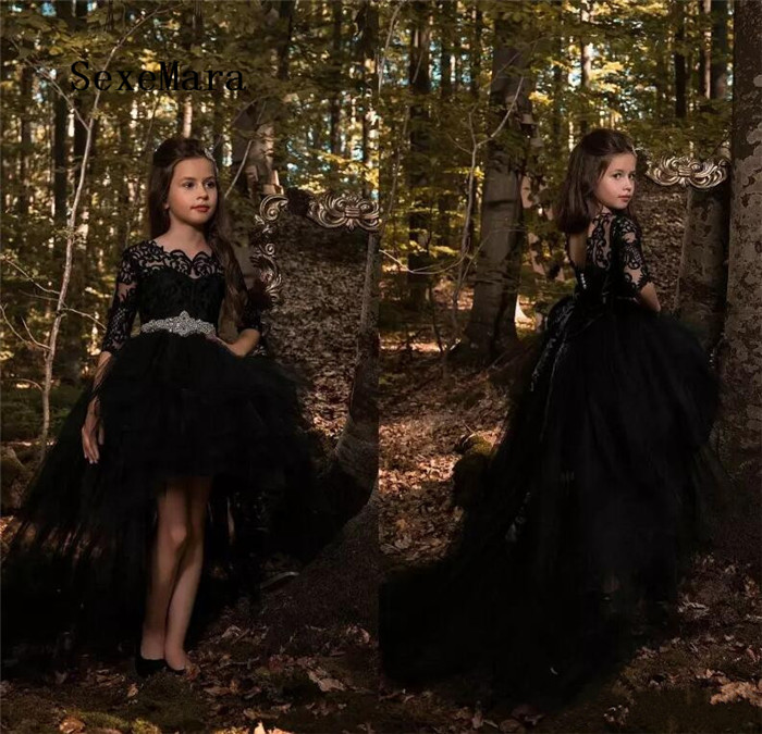 2018 Black Girls Pageant Dresses Lace Appliques Princess High Low Crystal Belt Tiered Flower Girls Dress Birthday Gown цена 2017