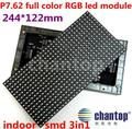indoor P7.62 full color SMD 3in1 RGB led screen module 244*122mm 32*16pixels 1/8 Scan P7.62 LED Video Display Sign