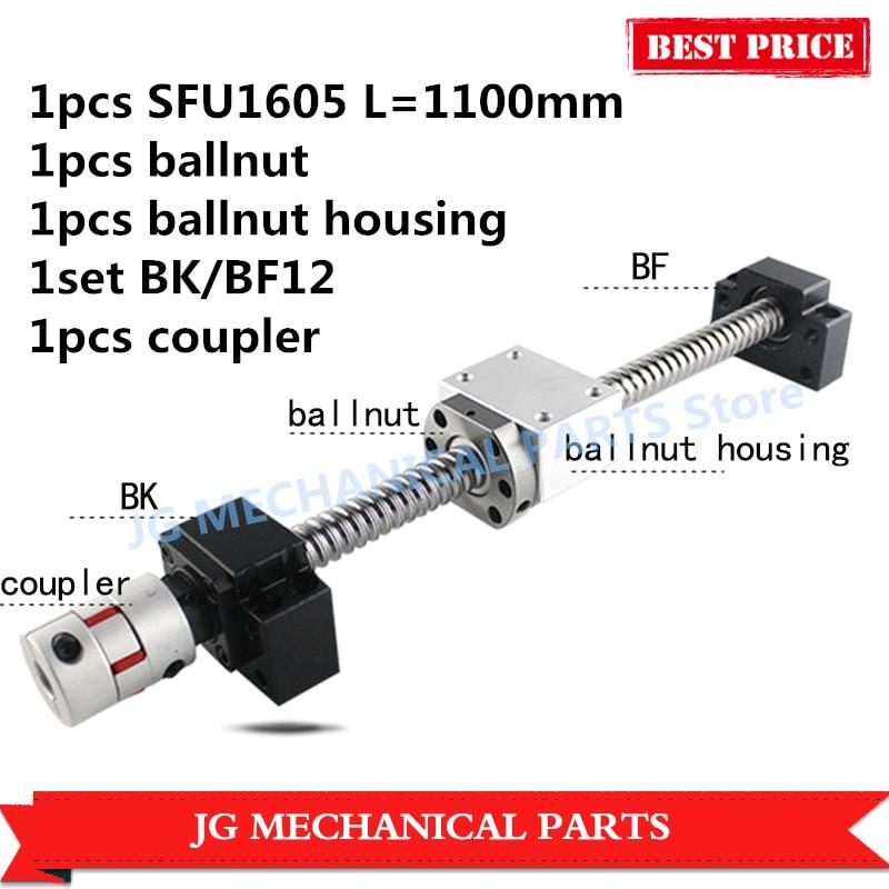 High quality 16mm Rolled Ballscrew SFU1605 L=1100mm C7 with ballnut+BK/BF12 ballscrew end support+shaft coupler+ballnut bracket rolled c7 ballscrew 1605 700mm ballscrew with metal deflector ballnut bk12 bf12 support coupler
