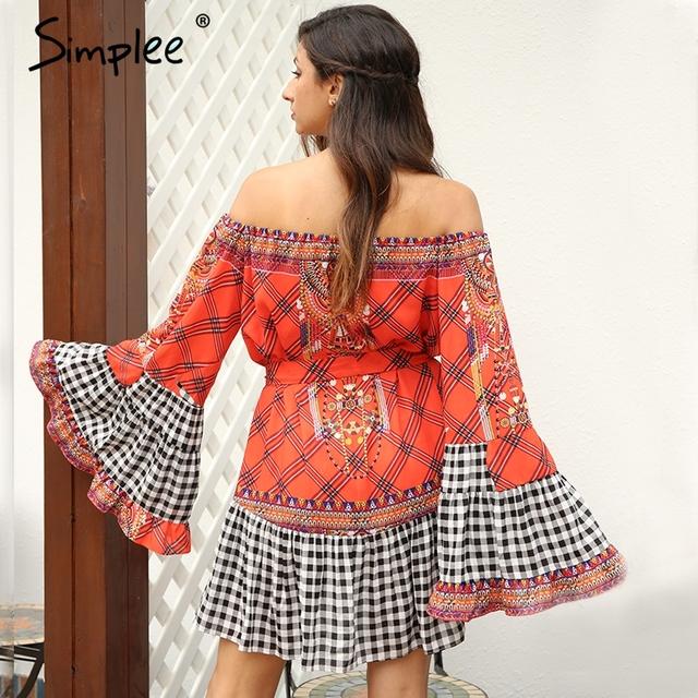 Simplee Ethnic sexy summer dress women Backless sash ruffle vintage dress Off shoulder patchwork short dress vestidos de festa