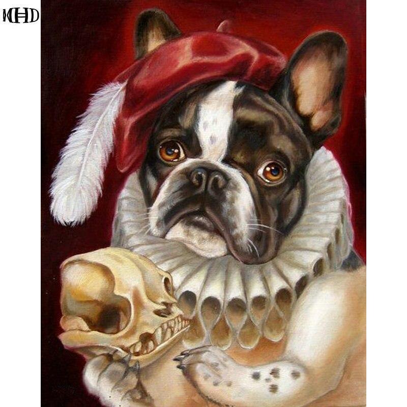 MHD 3D carré Diamant peinture point de Croix complet Diamant broderie animal chien photo bricolage peinture strass collé toile
