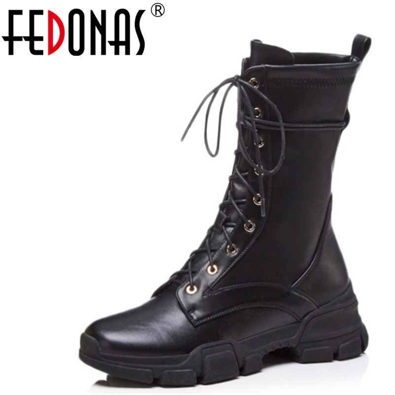 FEDONAS Brand Women Wedges Heels Mid-calf Boots New Autumn Winter Warm Lace Up Platforms Shoes Woman Black High Motorcycle Boots fedonas lace up boots 2019 fashion thick heel mid calf boots women high heels autumn winter shoes woman platforms boots