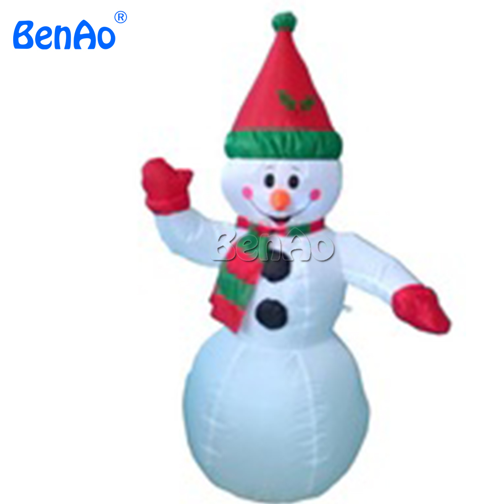 X124 BENAO Free shipping 5m high Happy Inflatable Christmas Snowman with Santa Hat//Lovely inflatable snowman with hat for event giant christmas inflatable santa inflatable christmas father large santa claus free shipping