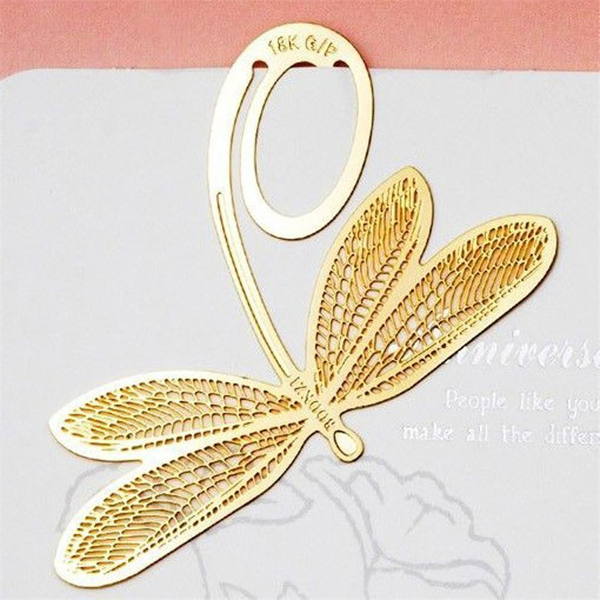 Happy Sale bestselling 2Pcs Book Magazine Label Mark Kid Reading Bookmark Feather Metal Clip oct1024