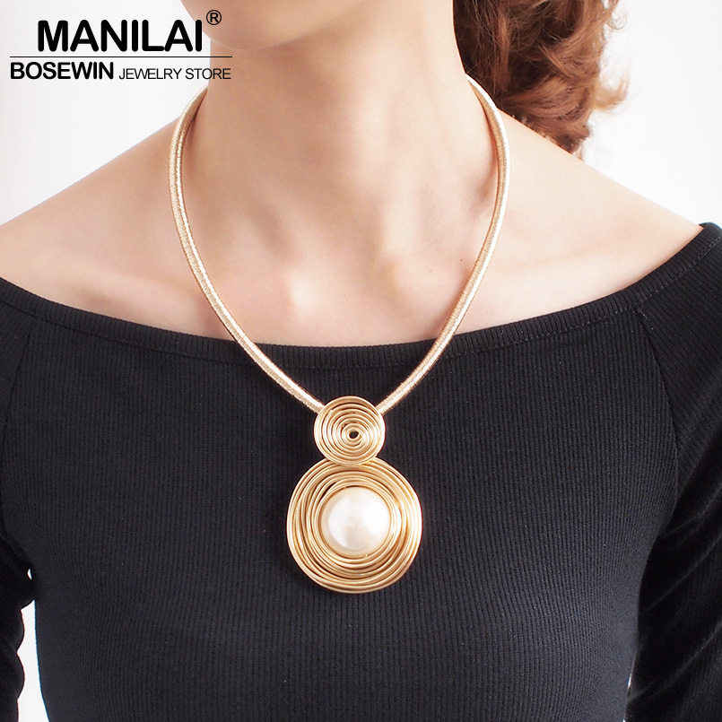 MANILAI Simulated Pearl Chokers Necklaces For Women Handmade Rope Chain Bib Collar Maxi Statement Necklace Jewelry