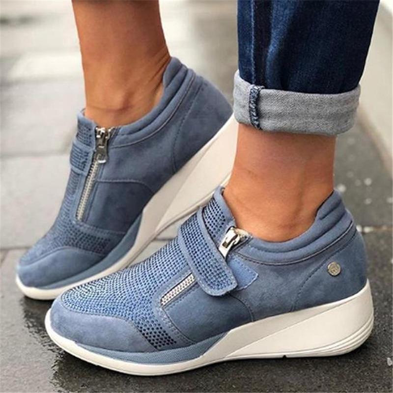 Laamei 2019 New Flock High Heel Lady Casual Women Sneakers Leisure Platform Shoes Breathable Height Increasing Shoes Sneakers