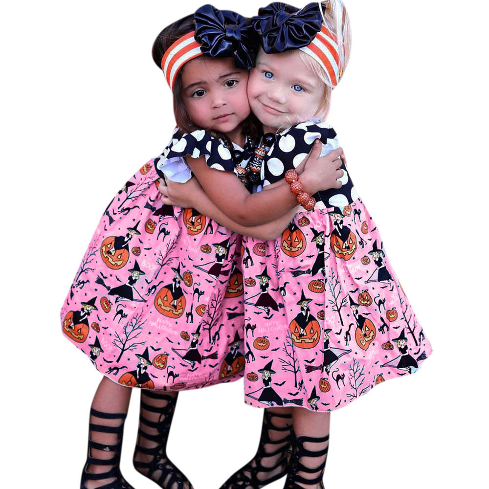 Toddler Baby Girls Princess Dress Short Sleeve Pumpkin O Neck Summer Costumes Kids Party Pageant Girls Holiday Halloween Dresses