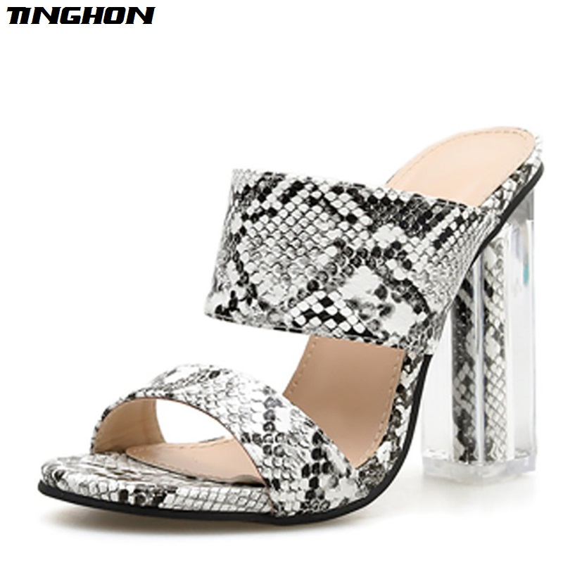 TINGHON New snakeskin Slippers Open Toed Sexy Crystal Square heel 11CM Women Transparent Heel Slides Sandals Pumps in High Heels from Shoes