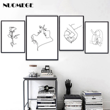 Nordic Style Lines Wall Art love Poster Simple Abstract Painting Couple Gift Posters and Prints for Bedroom Home Decor