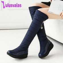 Купить с кэшбэком Vulusvalas Casual Boots Women's Fashion Snow Boots Shoes Women Slip On Cotton Thick Fur Lined Knee High Winter Boots Size 35-44