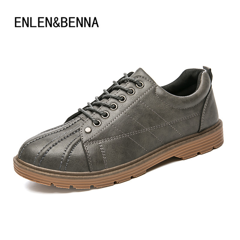 ENLEN&BENNA Brand New Style Retro Style Men Causal Shoes Sneakers PU Leather Men Shoes Outdoor Flats Shoes Zapatos Hombre